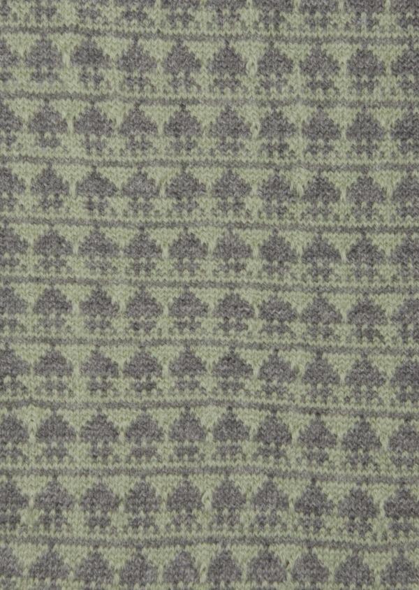 Chaussettes en coton mélangé vert à motif fantaisie gris - Father and Sons 42535