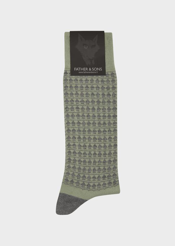 Chaussettes en coton mélangé vert à motif fantaisie gris - Father and Sons 42534