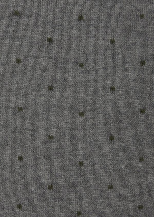Chaussettes en coton mélangé gris à pois vert kaki - Father and Sons 42531