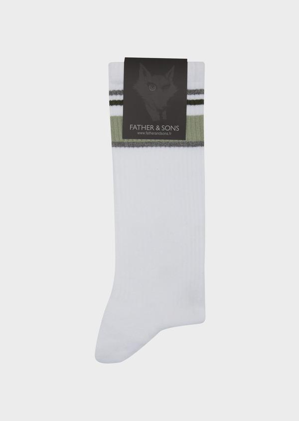 Chaussettes en coton mélangé blanc à rayures vertes et grises - Father and Sons 42546