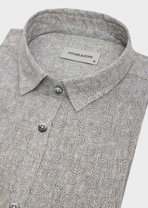 Chemise sport Slim en lin gris anthracite à motif fantaisie - Father and Sons 39551