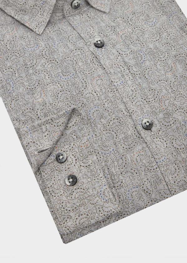 Chemise sport Slim en lin gris anthracite à motif fantaisie - Father and Sons 39549