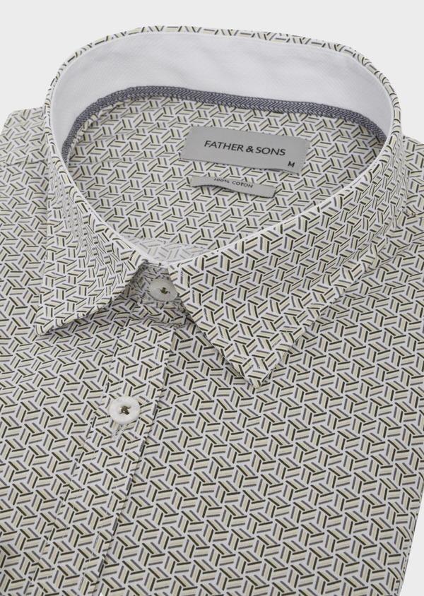 Chemise sport Slim en popeline de coton blanc à motif fantaisie - Father and Sons 41954