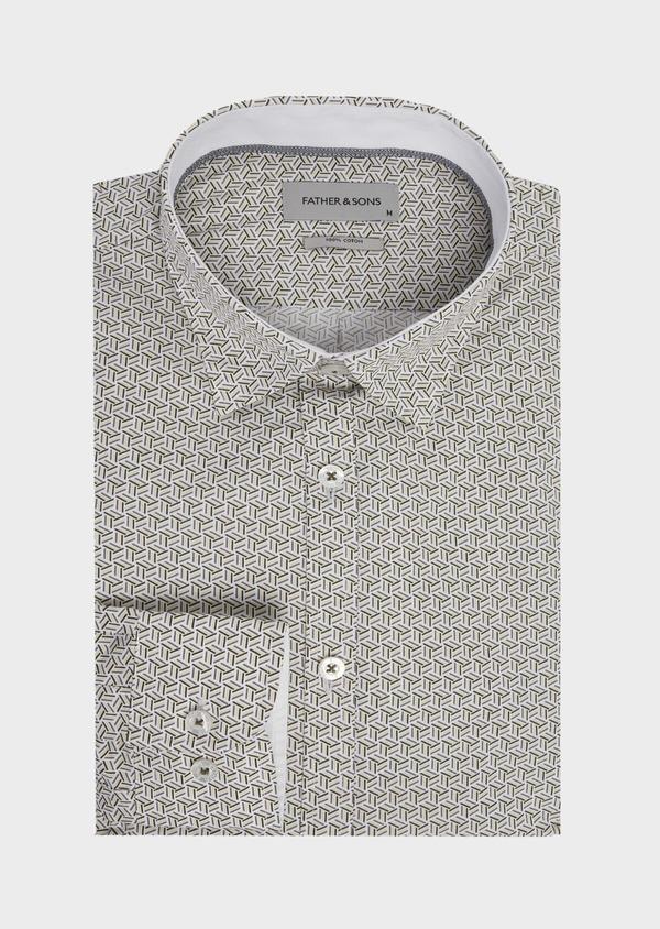 Chemise sport Slim en popeline de coton blanc à motif fantaisie - Father and Sons 41952