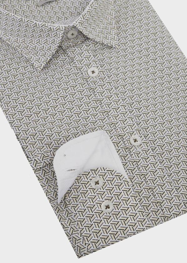 Chemise sport Slim en popeline de coton blanc à motif fantaisie - Father and Sons 41955
