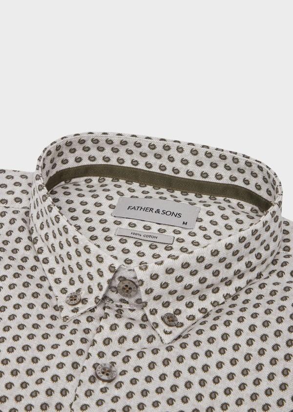 Chemise sport Slim en coton chevron gris à motif fantaisie - Father and Sons 42353