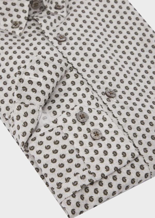 Chemise sport Slim en coton chevron gris à motif fantaisie - Father and Sons 42354