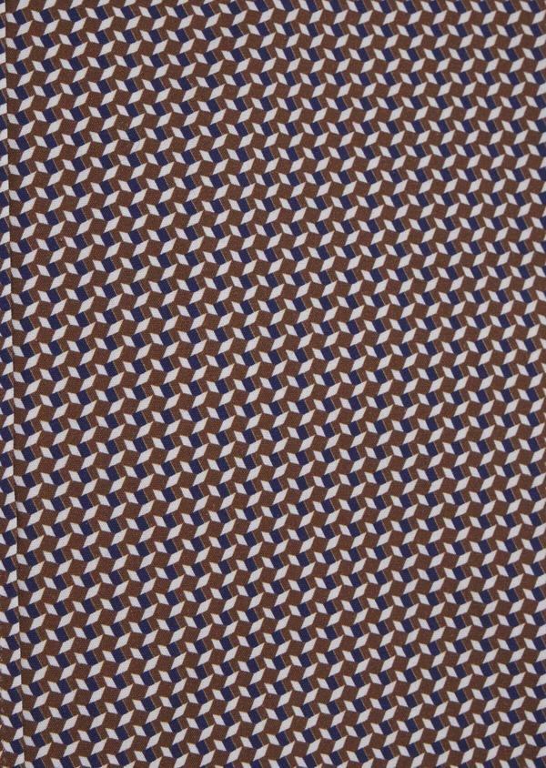 Chemise sport Slim en popeline de coton marron à motif fantaisie - Father and Sons 42401