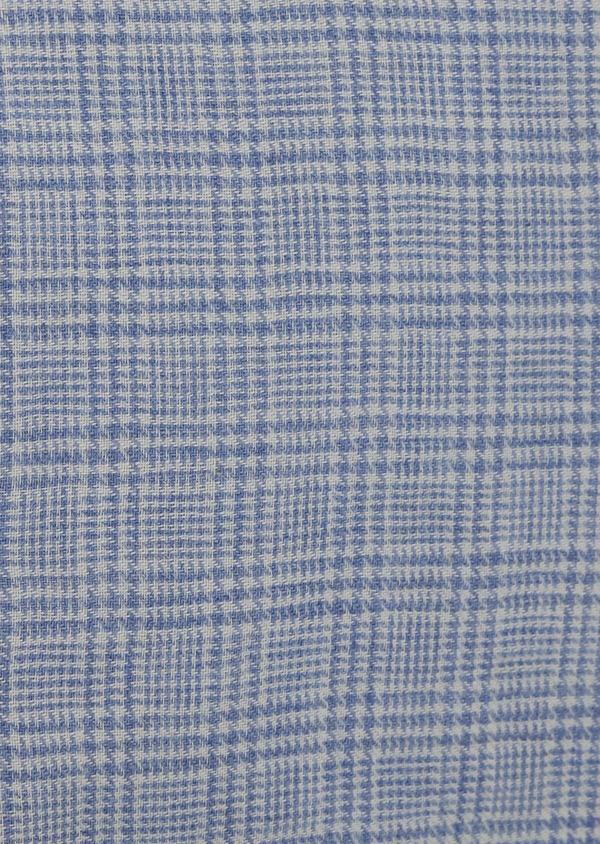 Chemise sport Slim en popeline de coton bleu jean à motif Prince de Galles - Father and Sons 41960