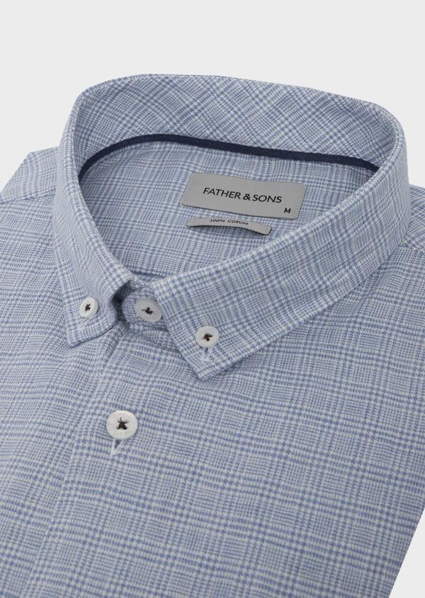 Chemise sport Slim en popeline de coton bleu jean à motif Prince de Galles - Father and Sons 41961