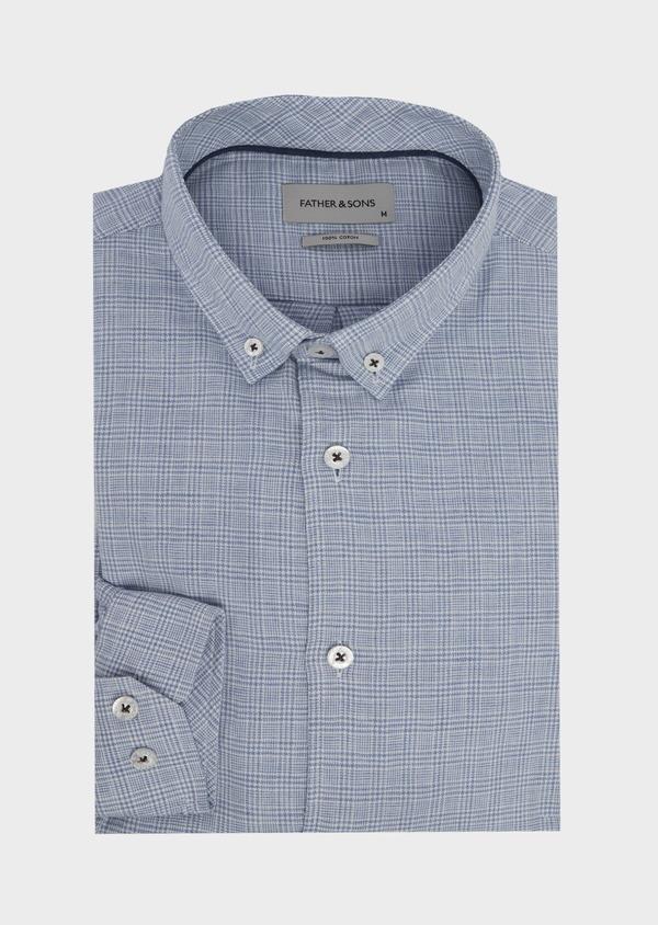 Chemise sport Slim en popeline de coton bleu jean à motif Prince de Galles - Father and Sons 41959