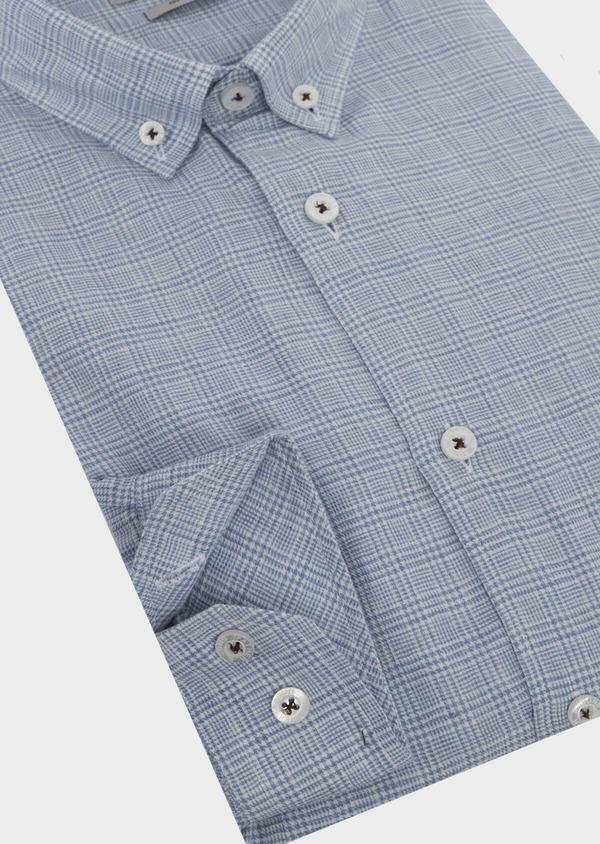 Chemise sport Slim en popeline de coton bleu jean à motif Prince de Galles - Father and Sons 41962