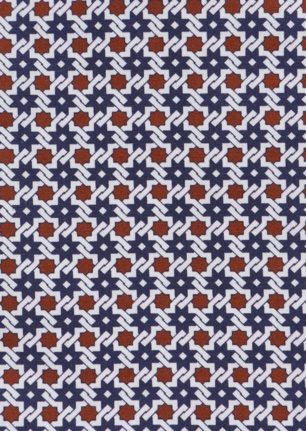 Chemise sport Slim en popeline de coton blanc à motif fantaisie - Father and Sons 37112