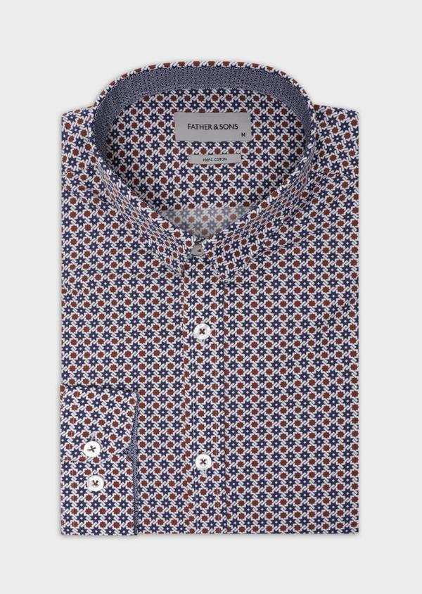 Chemise sport Slim en popeline de coton blanc à motif fantaisie - Father and Sons 37111