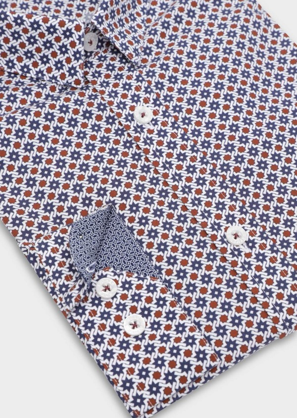 Chemise sport Slim en popeline de coton blanc à motif fantaisie - Father and Sons 37114