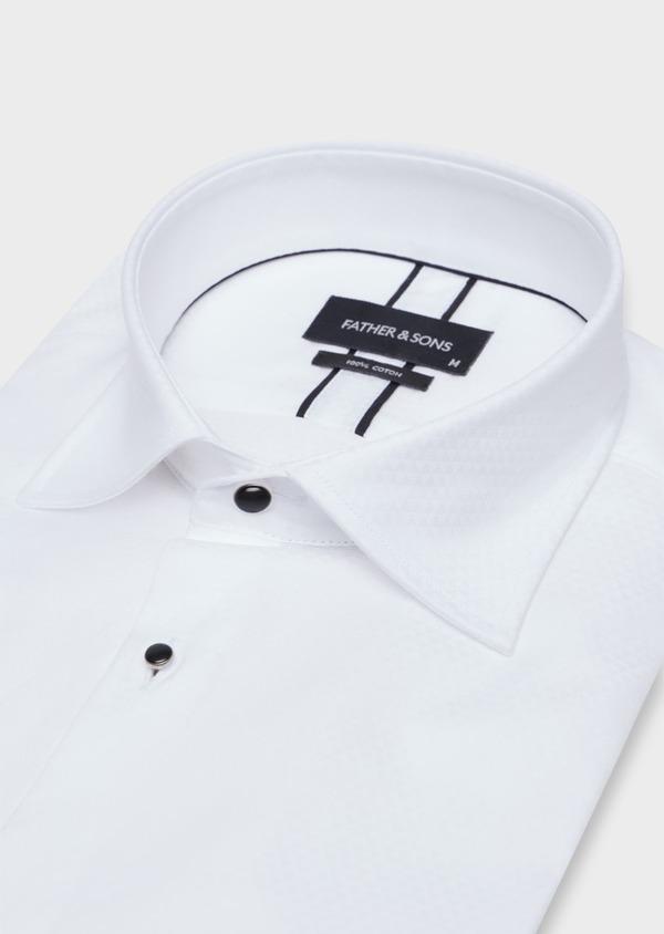Chemise habillée Slim en coton façonné blanc à motifs géométriques ton sur ton - Father and Sons 37102