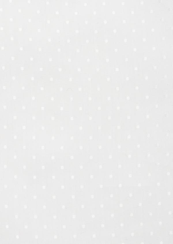 Chemise habillée Slim en coton mélangé façonné blanc à pois ton sur ton - Father and Sons 41934