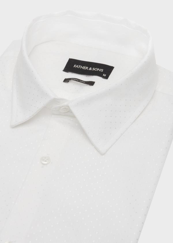 Chemise habillée Slim en coton mélangé façonné blanc à pois ton sur ton - Father and Sons 41935