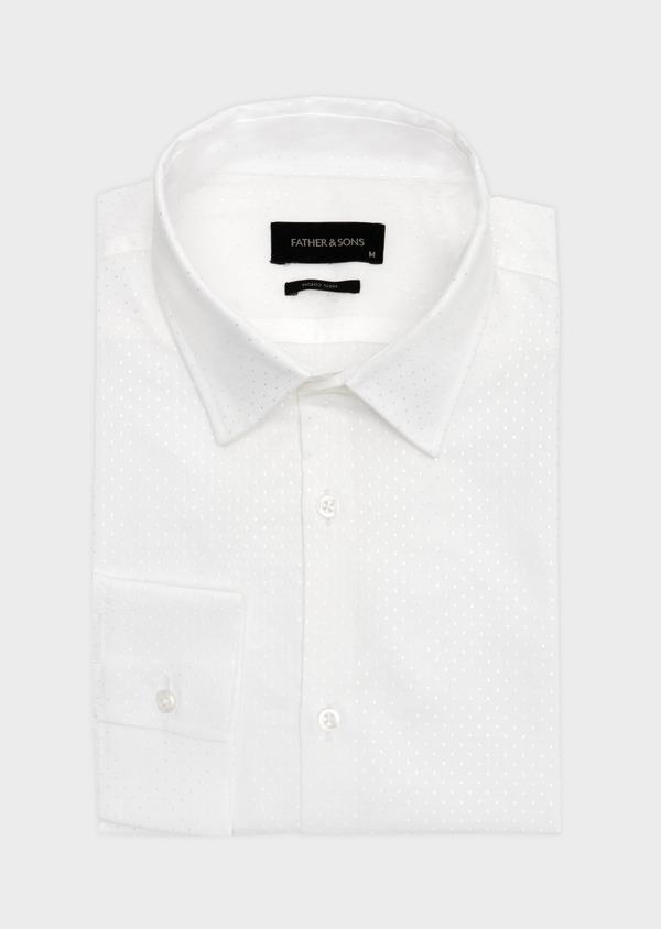 Chemise habillée Slim en coton mélangé façonné blanc à pois ton sur ton - Father and Sons 41933