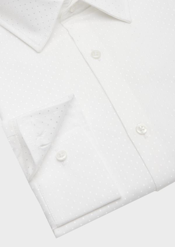 Chemise habillée Slim en coton mélangé façonné blanc à pois ton sur ton - Father and Sons 41936