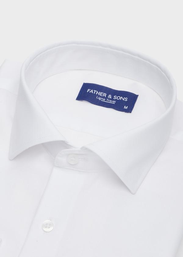 Chemise habillée non-iron Slim en popeline de coton uni blanc - Father and Sons 42390