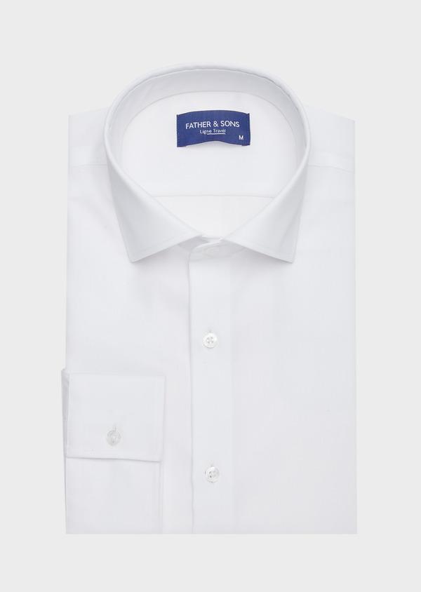 Chemise habillée non-iron Slim en popeline de coton uni blanc - Father and Sons 42388
