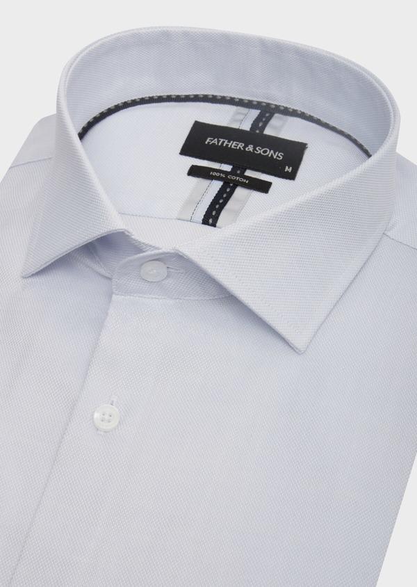Chemise habillée Slim en coton Jacquard uni bleu pâle - Father and Sons 42595