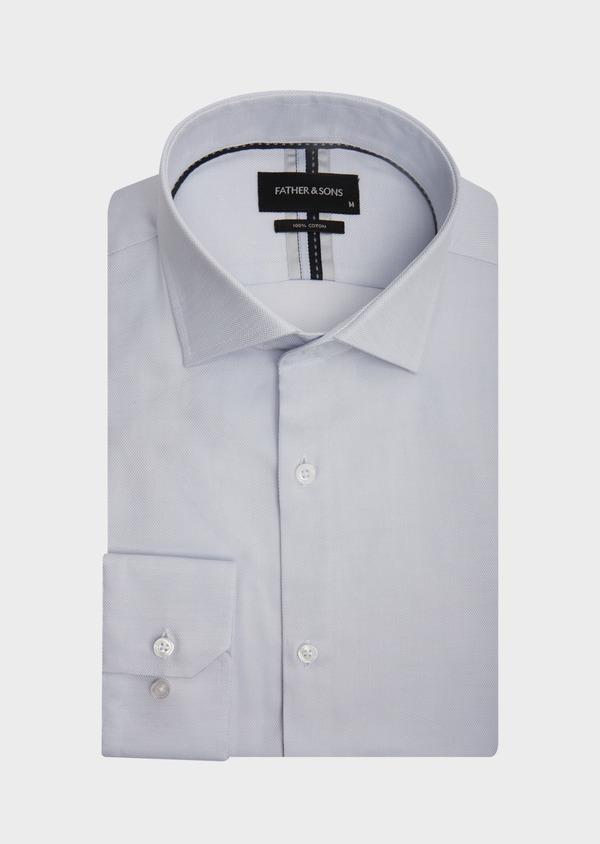 Chemise habillée Slim en coton Jacquard uni bleu pâle - Father and Sons 42593