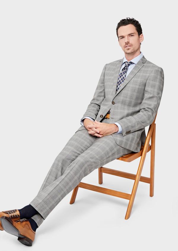 Costume 2 pièces Slim en laine beige Prince de Galles - Father and Sons 42472