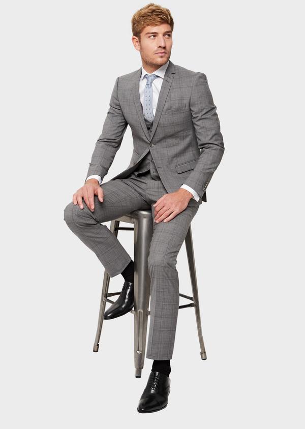 Costume 2 pièces Slim en laine gris clair Prince de Galles - Father and Sons 41971
