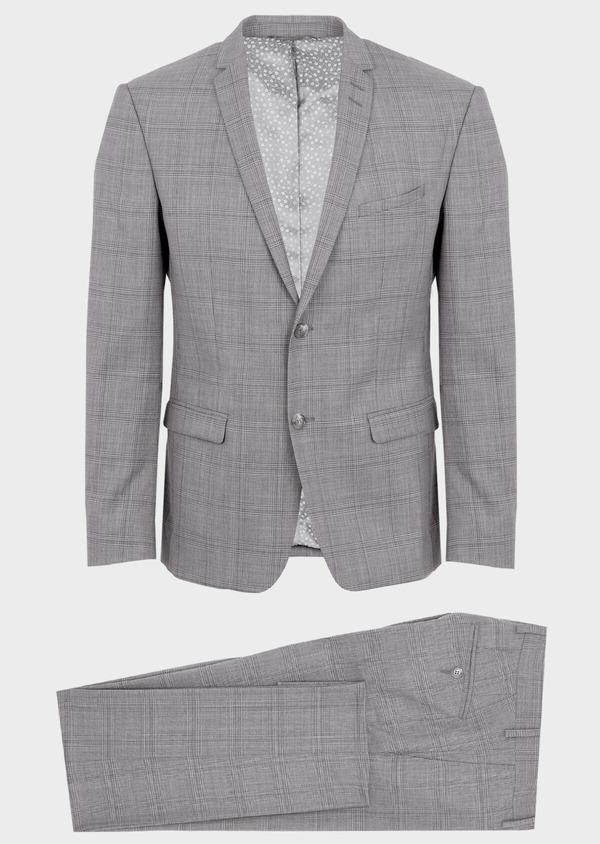 Costume 2 pièces Slim en laine gris clair Prince de Galles - Father and Sons 41970