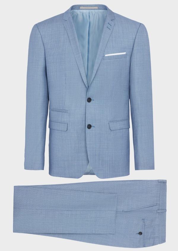 Costume 2 pièces Regular en laine mélangée unie bleue - Father and Sons 40574