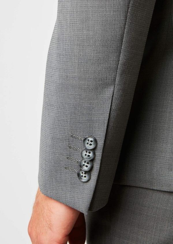 Costume 2 pièces Regular en laine façonnée unie gris clair - Father and Sons 37373