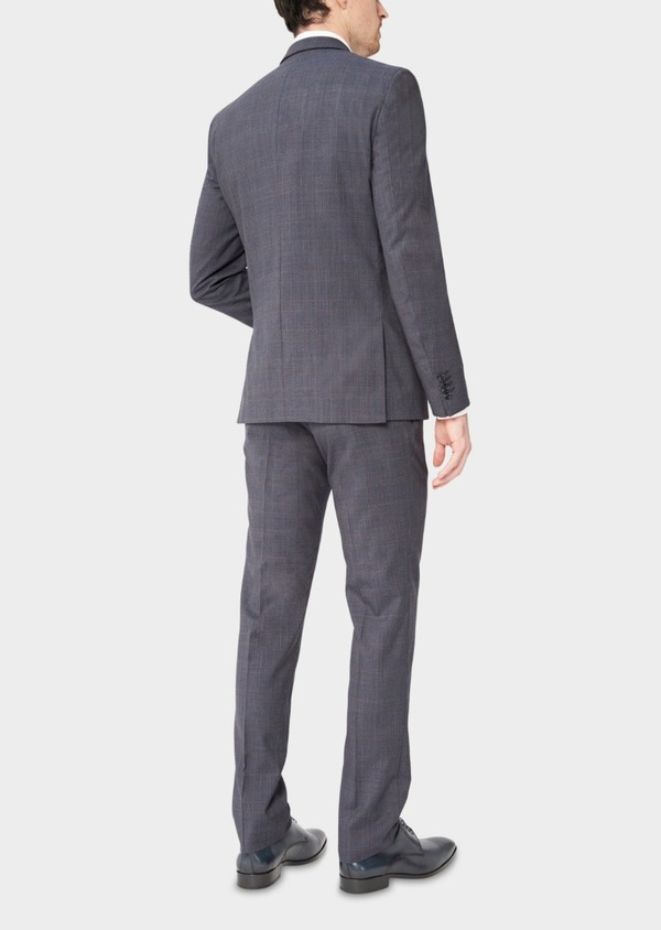 Costume 2 pièces Slim en laine stretch naturelle bleu chambray Prince de Galles - Father and Sons 37334