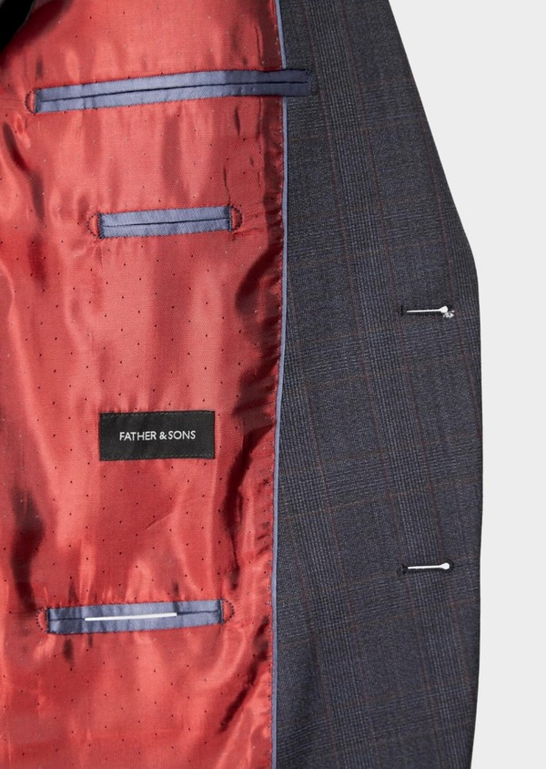 Costume 2 pièces Slim en laine stretch naturelle bleu chambray Prince de Galles - Father and Sons 37336