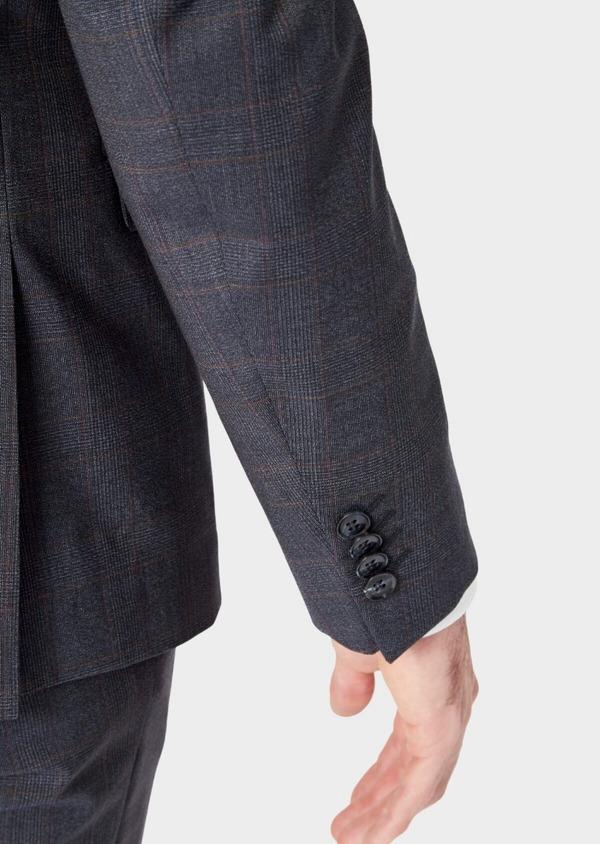 Costume 2 pièces Slim en laine stretch naturelle bleu chambray Prince de Galles - Father and Sons 37337