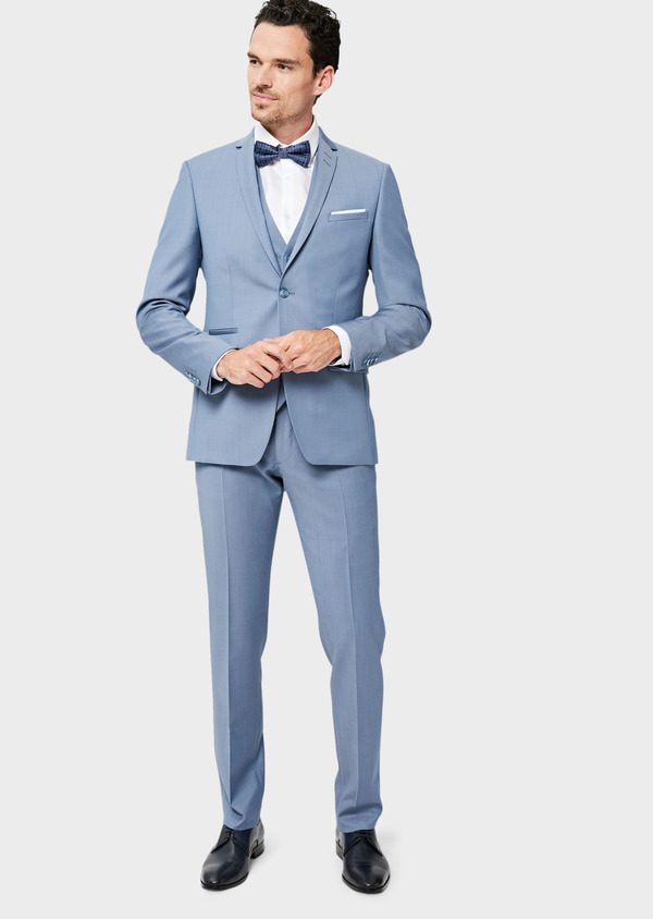 Costume 2 pièces Slim en laine unie bleu pâle - Father and Sons 41964
