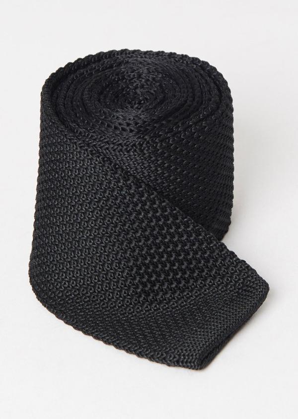 Cravate fine en tricot uni noir - Father and Sons 37294