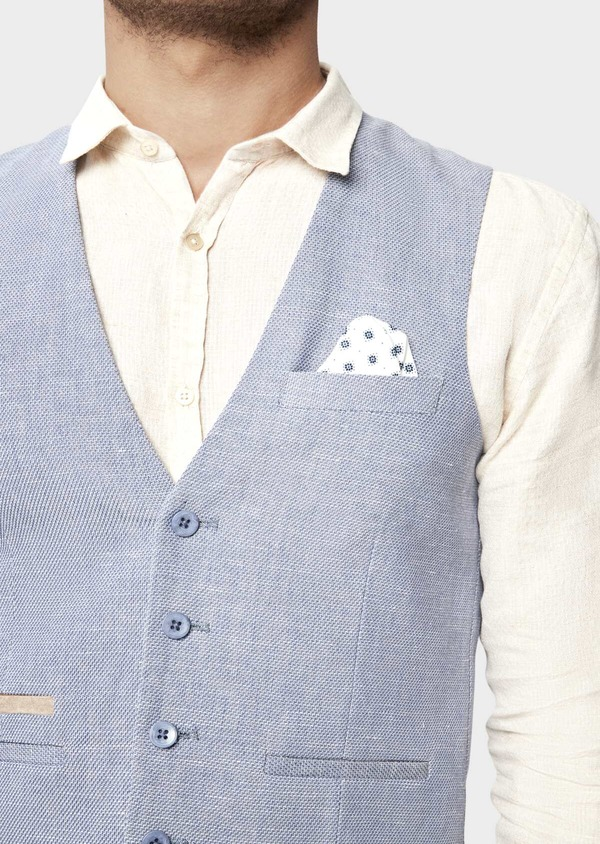 Gilet casual en coton et lin uni bleu chambray - Father and Sons 42749