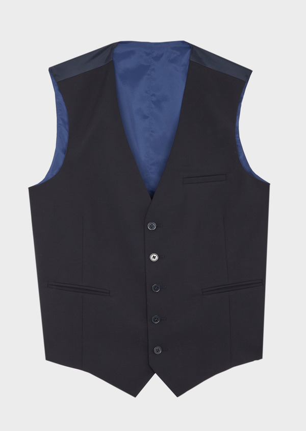 Gilet de costume voyage en laine bi-stretch unie bleu marine - Father and Sons 42447