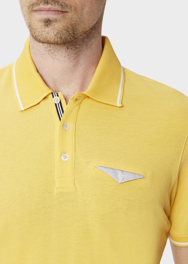 Polo manches courtes Slim en coton uni jaune - Father and Sons 40496