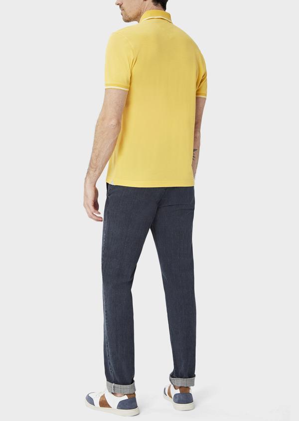 Polo manches courtes Slim en coton uni jaune - Father and Sons 40495
