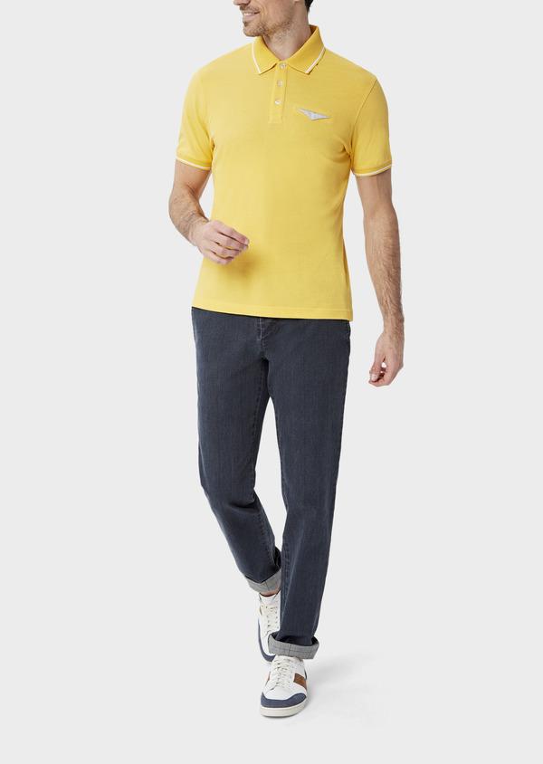 Polo manches courtes Slim en coton uni jaune - Father and Sons 40494
