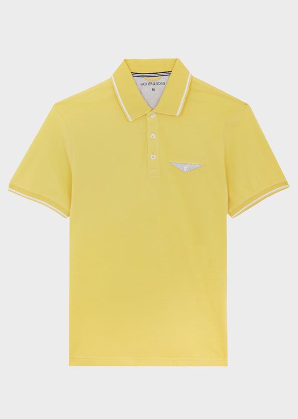 Polo manches courtes Slim en coton uni jaune - Father and Sons 40492