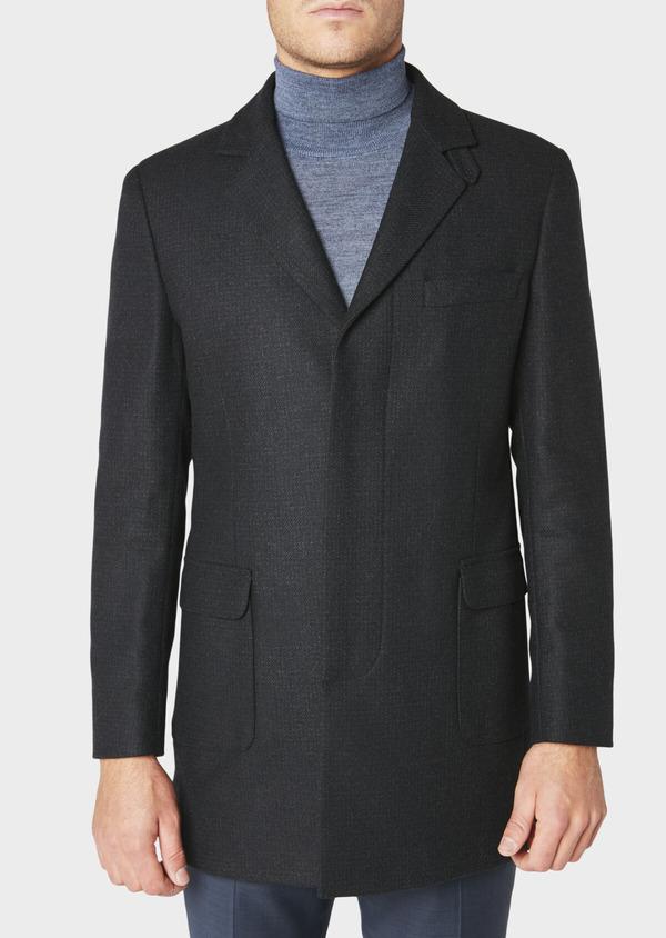 Manteau en laine à carreaux bleu marine - Father and Sons 30734