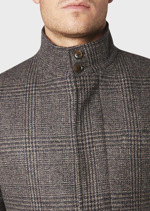 Manteau en laine à motif fantaisie marron foncé - Father and Sons 30752