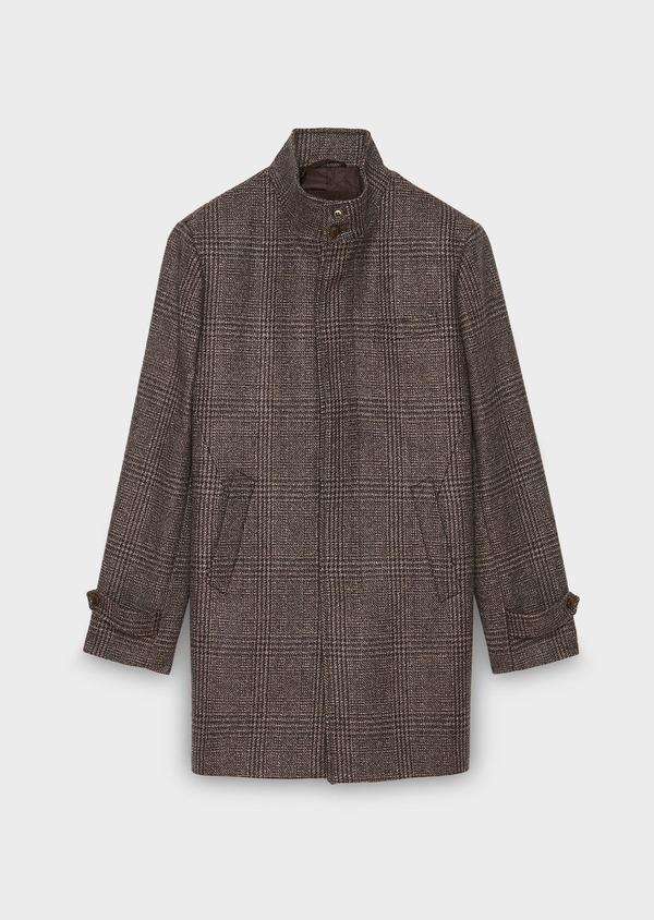 Manteau en laine à motif fantaisie marron foncé - Father and Sons 30748
