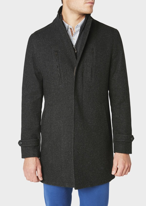 Manteau en laine mélangée façonnée à motif fantaisie gris anthracite chiné - Father and Sons 30685