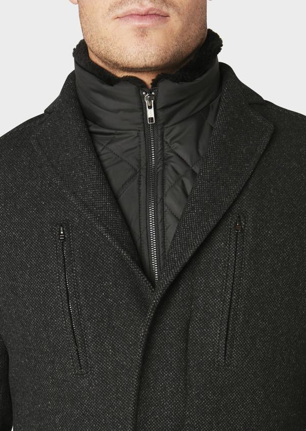 Manteau en laine mélangée façonnée à motif fantaisie gris anthracite chiné - Father and Sons 30683