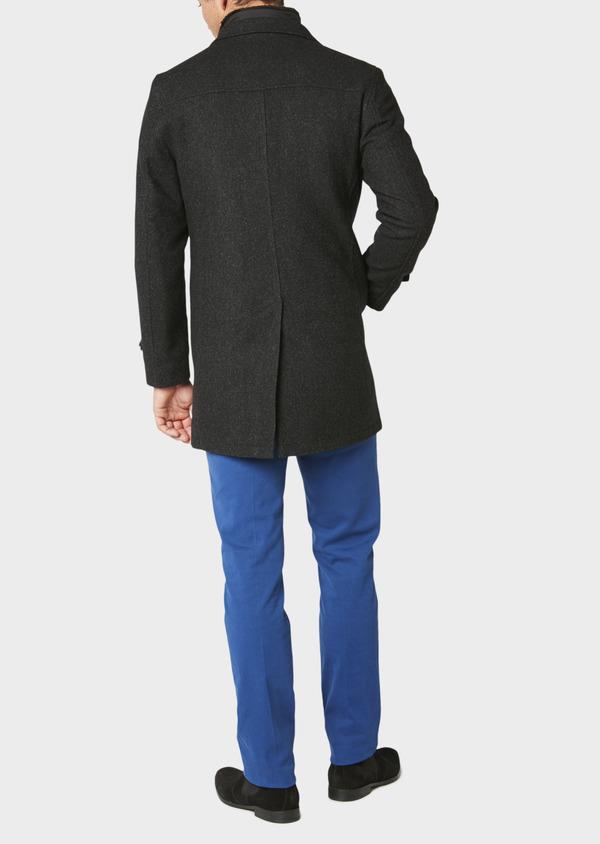 Manteau en laine mélangée façonnée à motif fantaisie gris anthracite chiné - Father and Sons 30682
